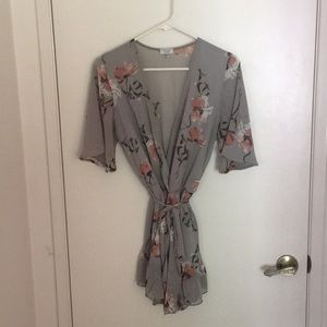 Gray Floral Romper
